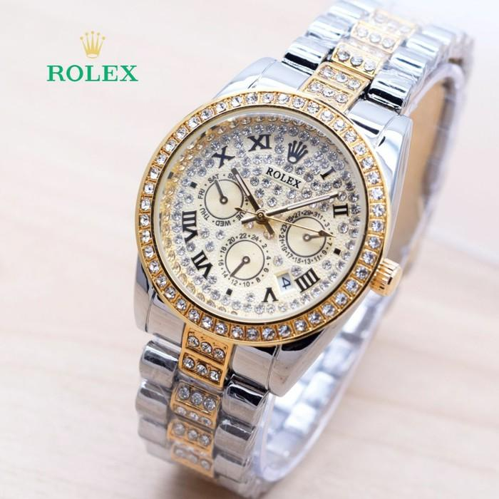Jam Tangan Wanita / Cewek Murah Rolex Romawi Diamond Rantai Kombi Gold