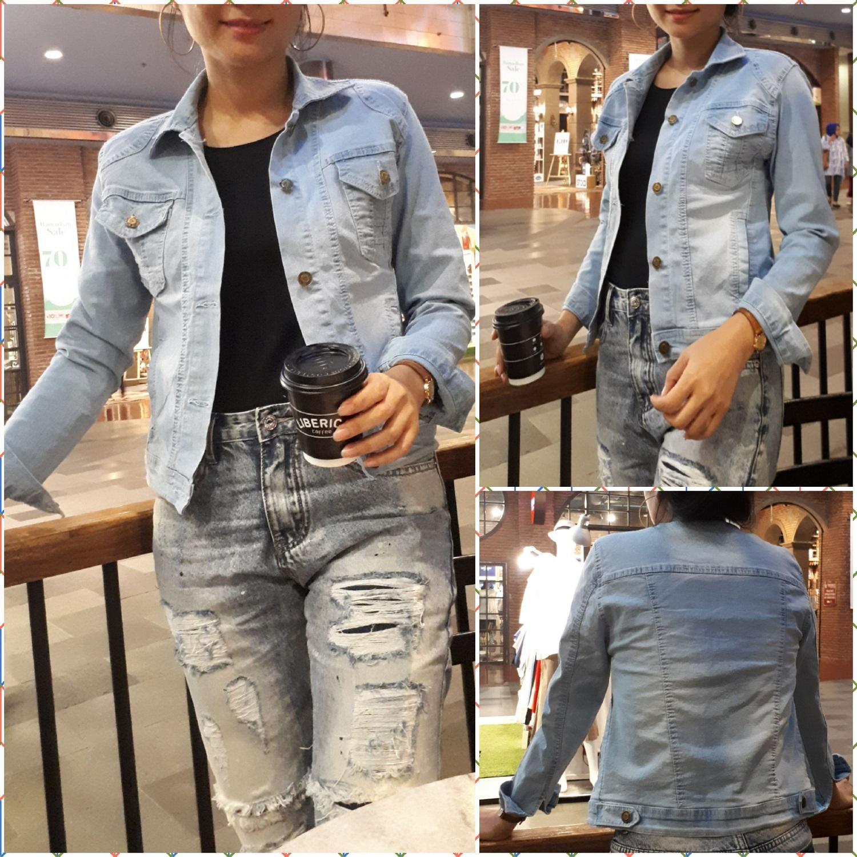 Fitur Fox Jacket Jeans Biru Muda Wash Iceblue Best Selller Photo Jaket Pria Asli Denim Jins Outer