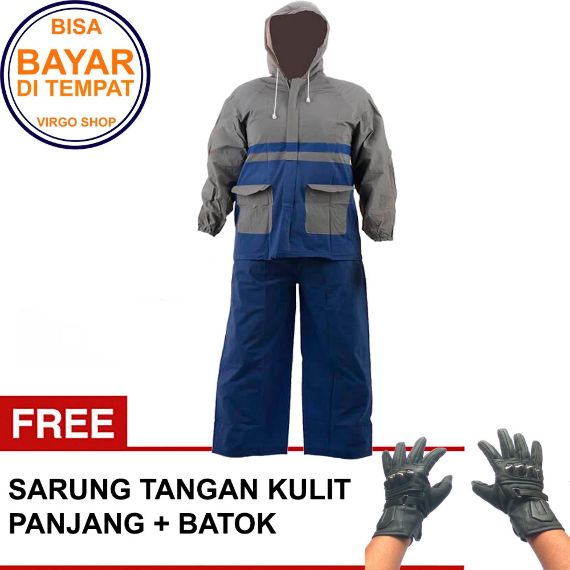 Elephant Jas Hujan Jaket Celana Abu abu - Biru Bonus sarung tangan Kulit Full Panjang Batok