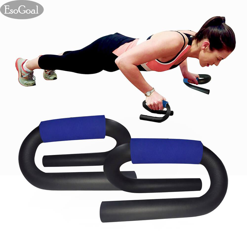 Beli Esogoal Push Up Pushup Bars Stands Handles Set S Shape More Stable Strong Chrome Steel For Men And Women Workout Pushup Training Program Cicilan