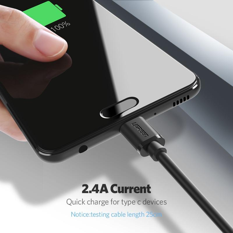 Detail Gambar UGREEN 150CM USB to Type C Data Sync Charger Cable Black for Samsung Xiaomi