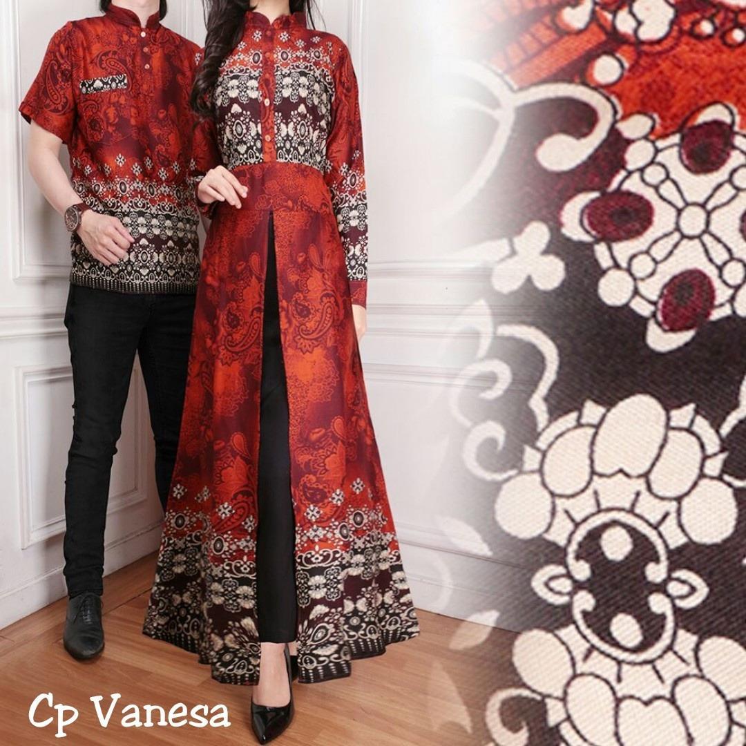 Baju Pasangan Pesta / Couple Gamis Vanesa Plus Kemeja Pria Warna Coklat