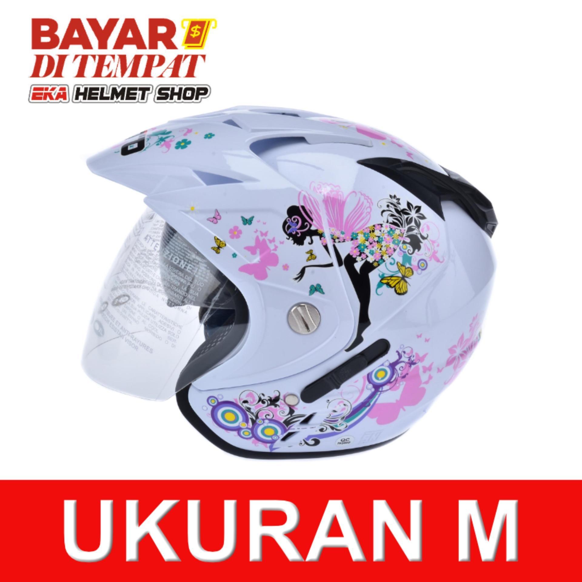Spesifikasi Wto Helmet Impressive Pixie Double Visor Putih Pink Yang Bagus Dan Murah