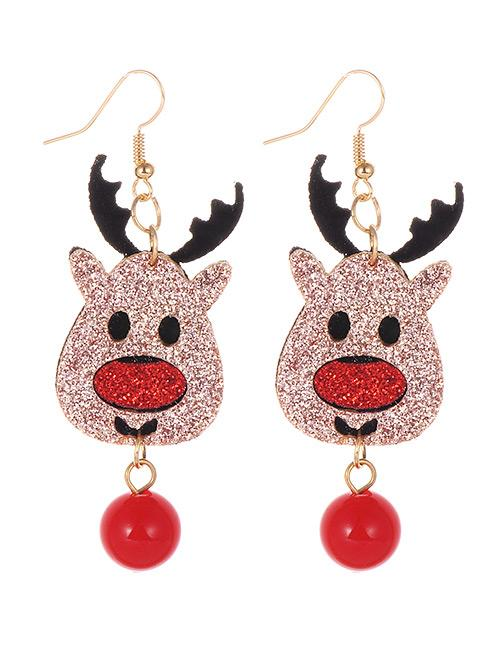 LRC Anting Gantung Fashion Multi-color Deer Shape Decorated Earrings
