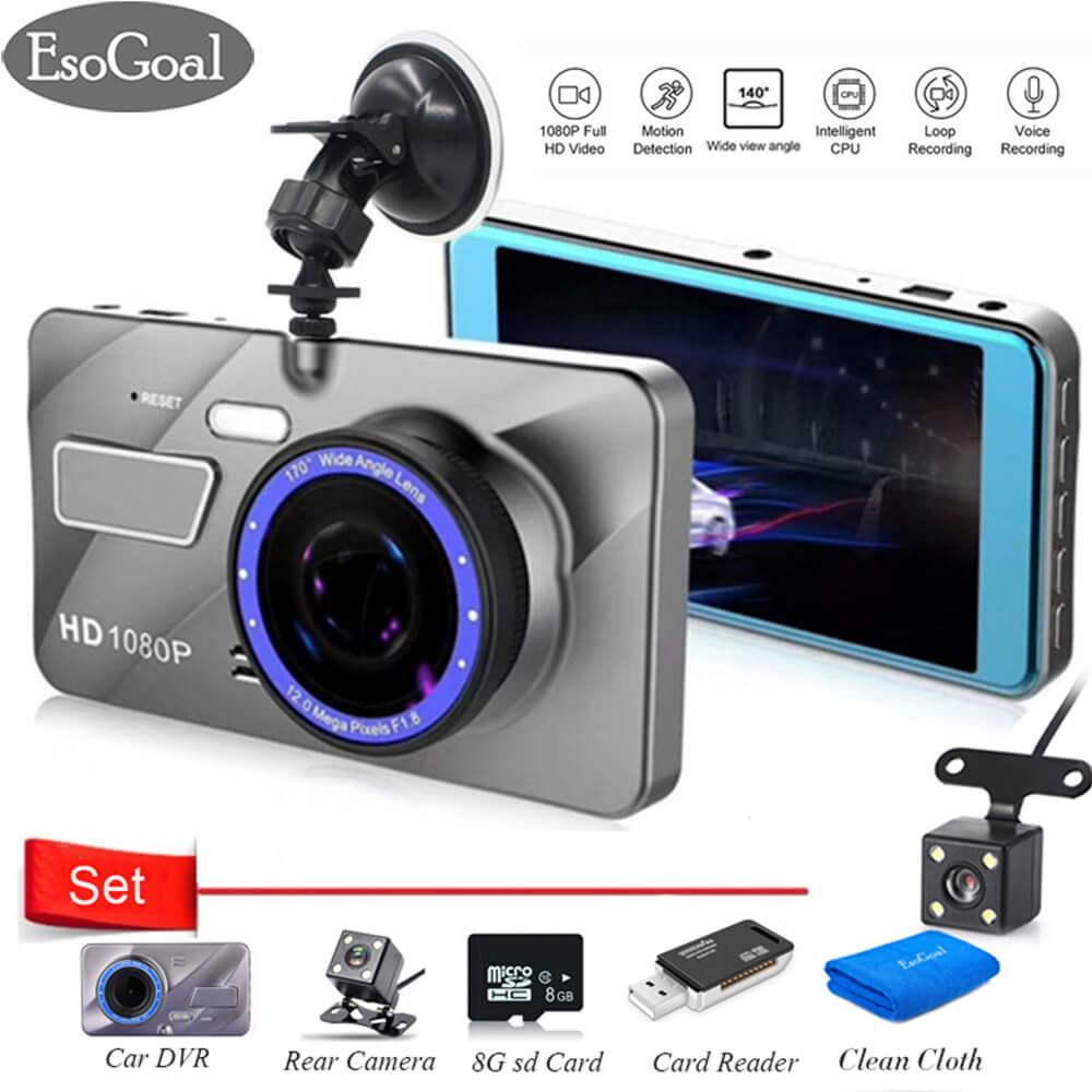 Beli Esogoal 4 Dual Lens Dash Cam Car Camera Recorder Full Hd 1080P Front 720P Rear Lens Super Wide Angle Car Dvr Dashboard Camera And Micro C 10 8G Memory Card And Usb 2 Sd Card Reader Kredit Tiongkok
