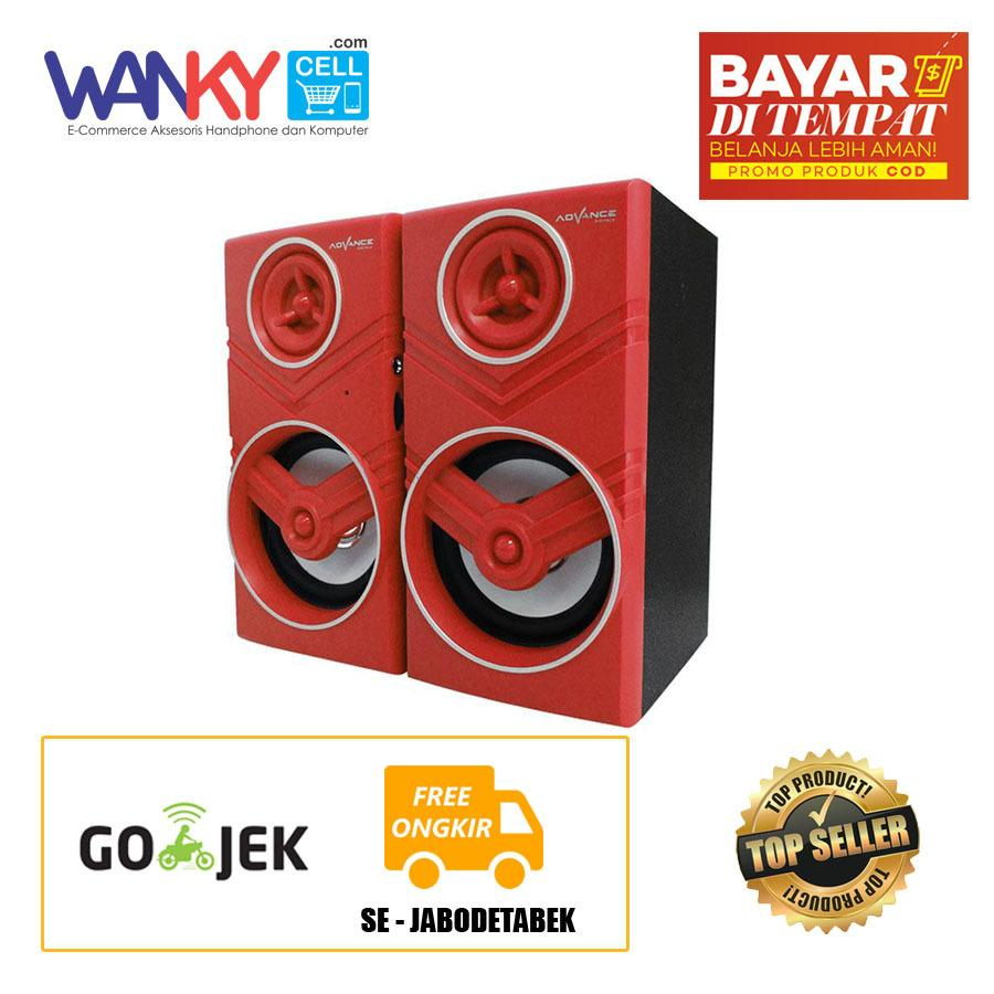 Diskon Advance Speaker Duo 080 Portable Speaker With Volume Control Merah