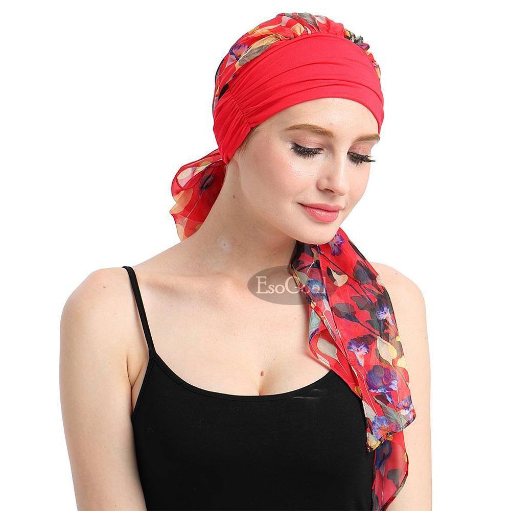 Detail Gambar EsoGoal hijab instan Women Indian Muslim Stretch Turban Hat Long Hair Head Scarf Scarves Hijab Headwraps Chemo Headwear Hats Terbaru