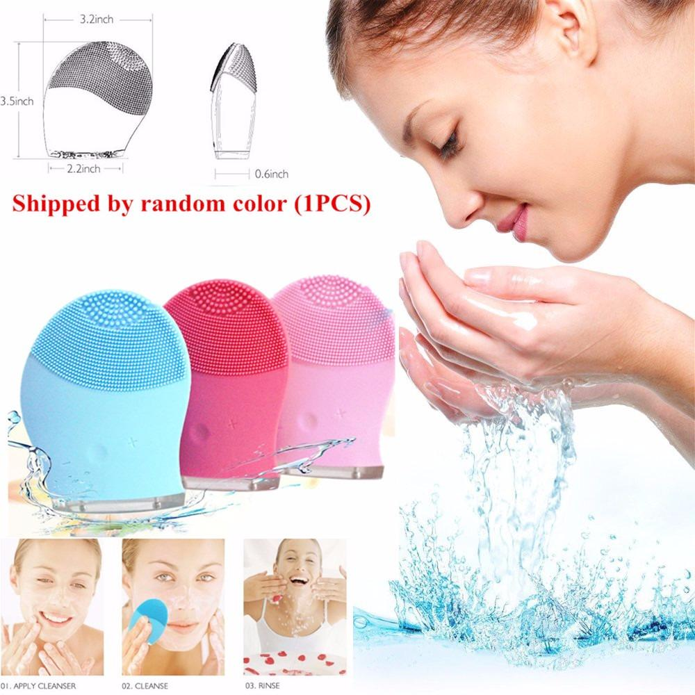 Harga Shipped Random Color Face Brush Skin Care Tools Electric Face Cleanser Vibrate Pore Clean Silicone Cleansing Brush Massager F*c**l Vibration Skin Care Spa Massage Yang Bagus