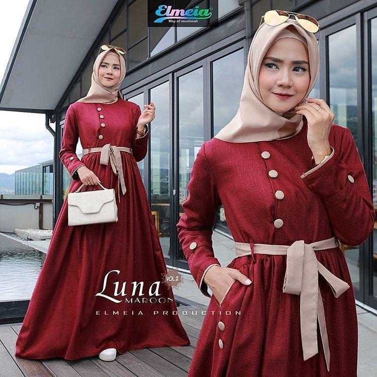 """BC LUNA"" Maxi Dress Syari Gamis Bahan Balotely Wolfice Katun Rubiah Spandek Panjang Hijab Casual Pakaian Wanita Trand Terbaru Fashionable"