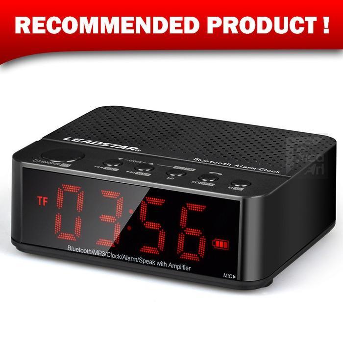 Speaker Mini Bluetooth + Radio FM + Jam Meja + Jam Weker Digital - Hitam