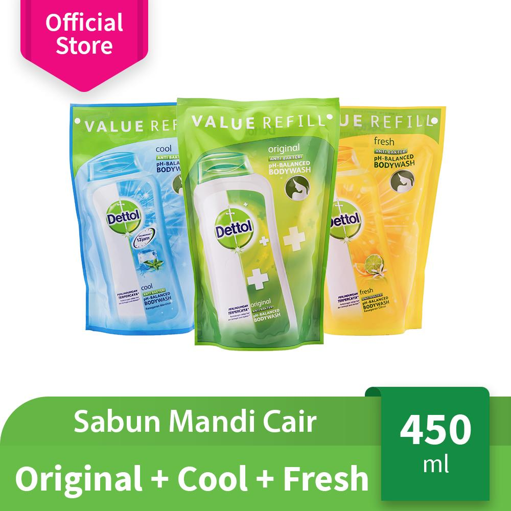 Dettol Body Wash Original + Cool + Fresh Refill 450 mL