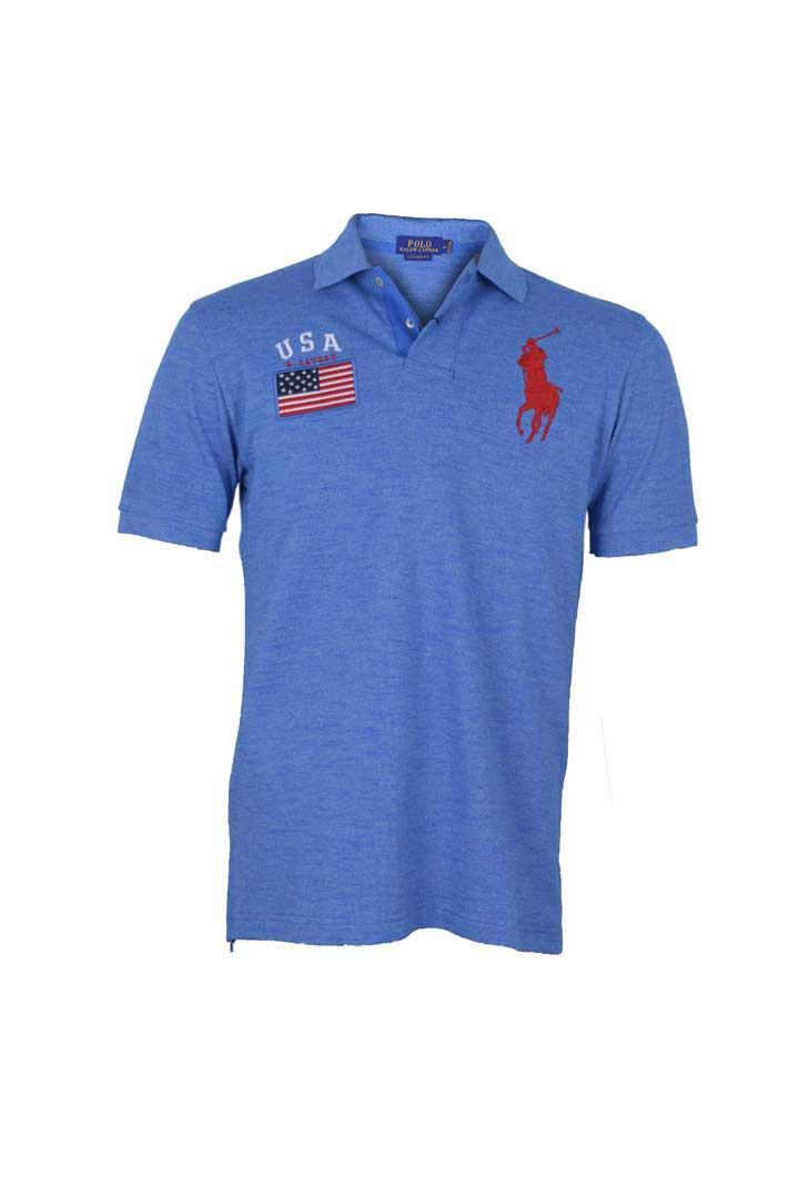 POLO RALPH LAUREN - POLO SHIRT CUSTOM FIT S/S blue MEN
