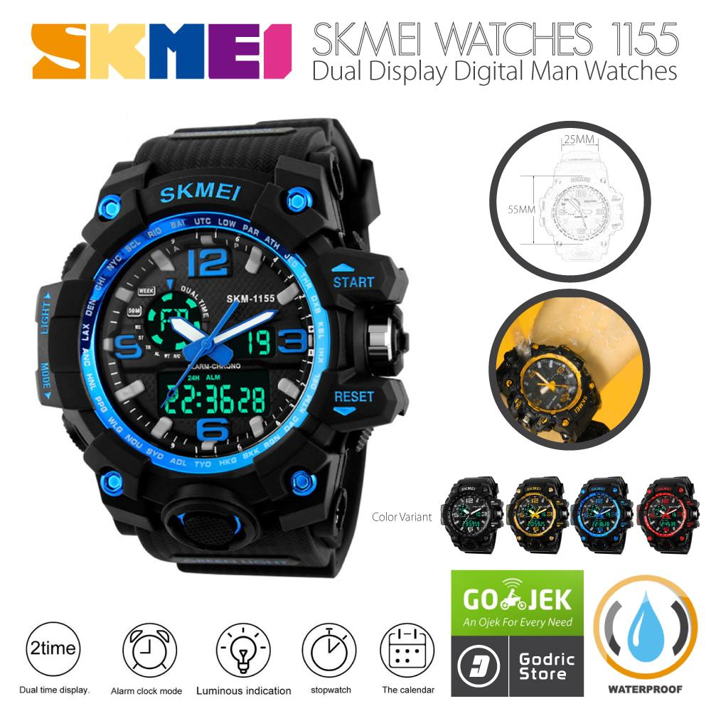 Kelebihan Jam Tangan Pria Skmei Ad 1155 Casio Analog Digital Original Cowok Sport Led Ad1155 Anti Air