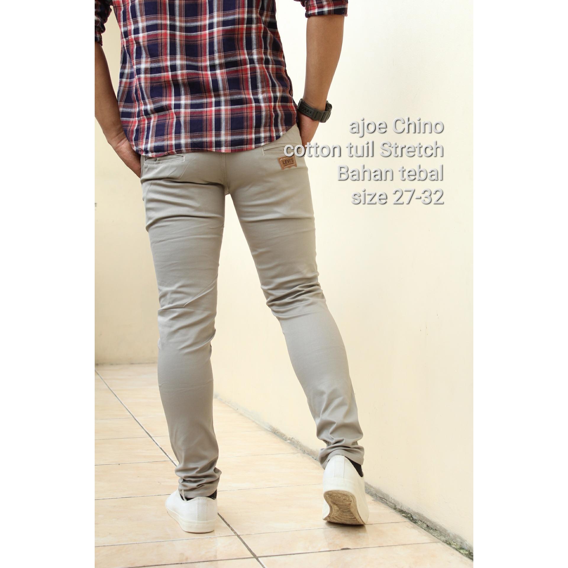 Celana Panjang Chino Pria Daftar Harga Terkini Dan Terlengkap Lois Jeans Original Cfsk001b Cokelat Tua 30 Ajoe Skinny Stretch