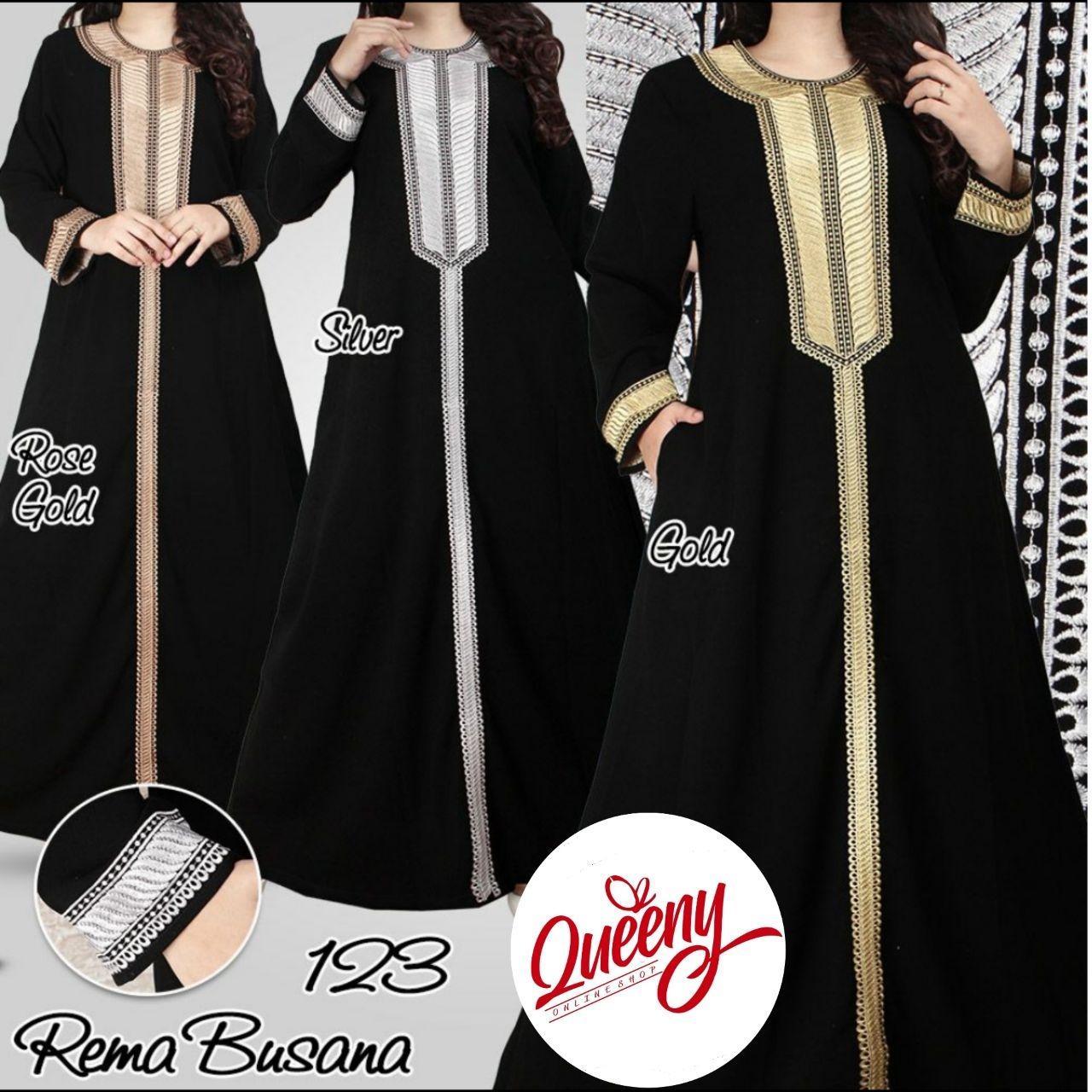 gamis abaya hitam arab - fashion muslimah - abaya modern 123