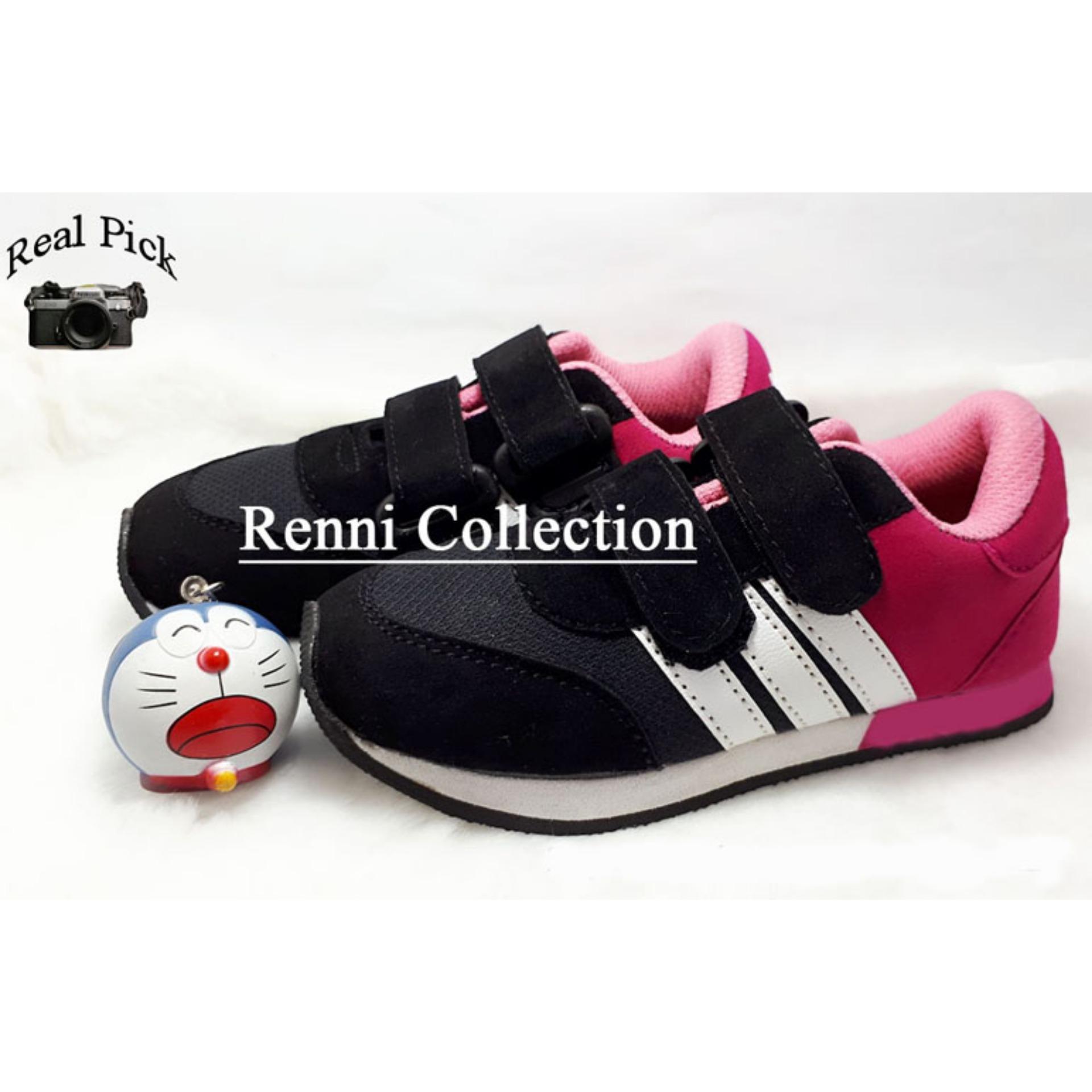 Spesifikasi Sepatu Sneakers Anak Magenta Plat Putih Paling Bagus