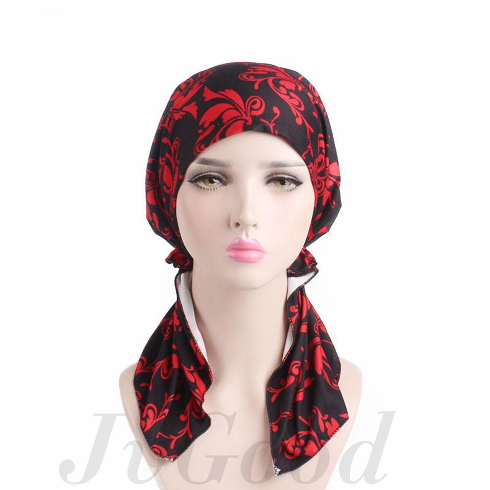 88756042cb344 Gambar Produk Rinci JvGood Muslim Hijab Womens Pre Tied Chemo Hat Head  Scarf Beanie Sleep Turban Headwear For Cancer Head Wrap Cap Printing Floral  Head ...