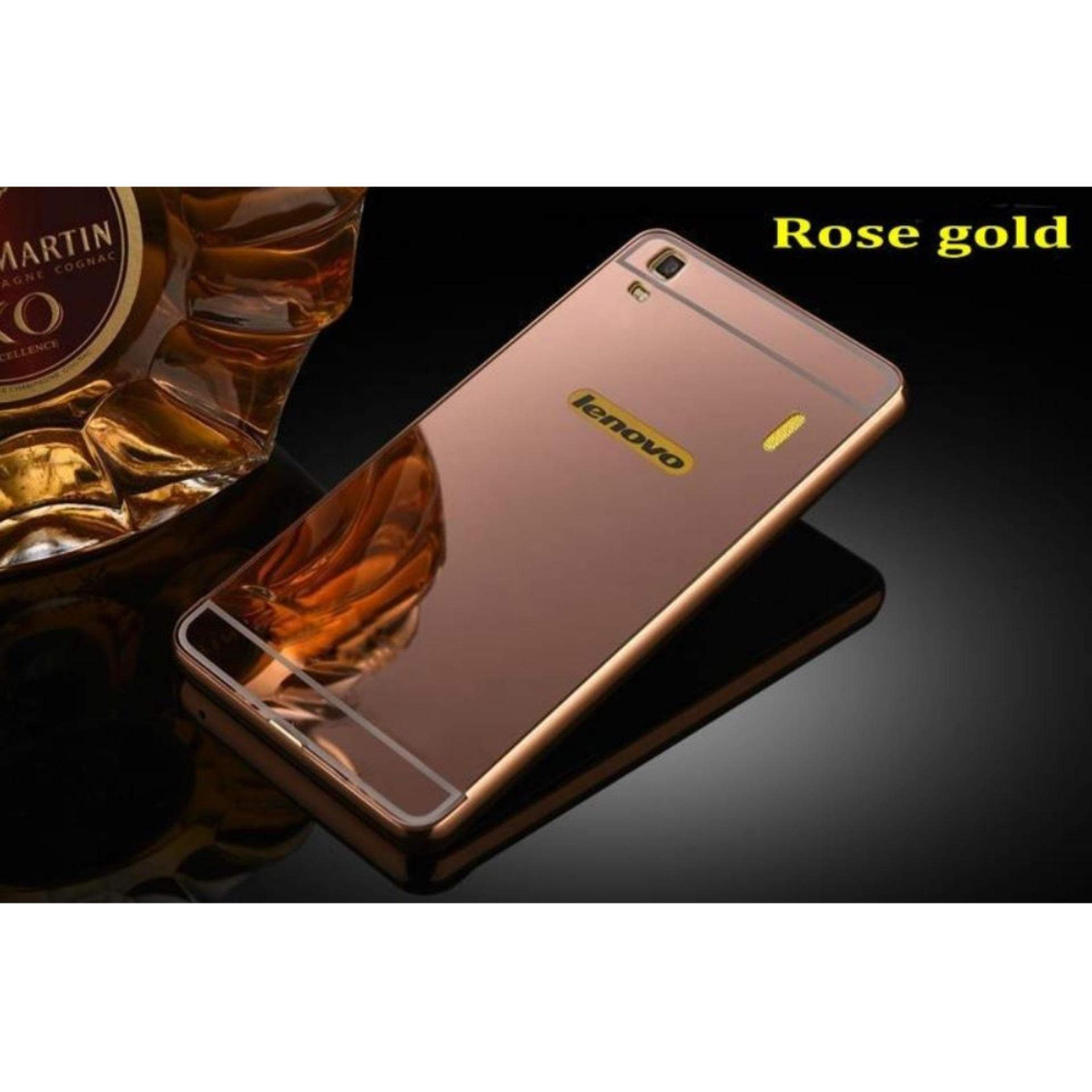 Aldora Case For Lenovo A7000 Metal Bumper Miror Premium Quality - Rose Gold 69d1434c6b
