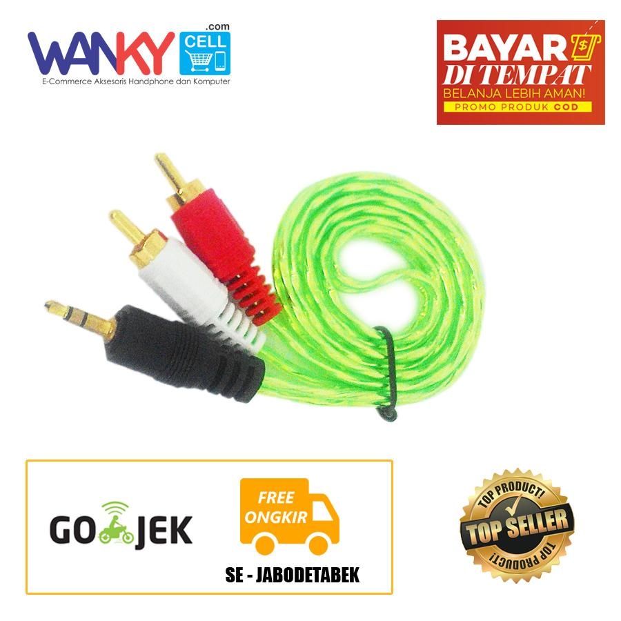 Kabel Aux 2in1 3.5mm Smartphones/Laptop/Tablet to Speaker - Hijau