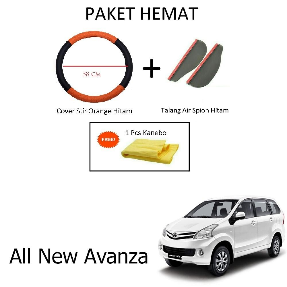 Sarung / Cover Stir / Setir / Steer Mobil All New Avanza Warna Hitam Orange + Talang Air Spion Hitam