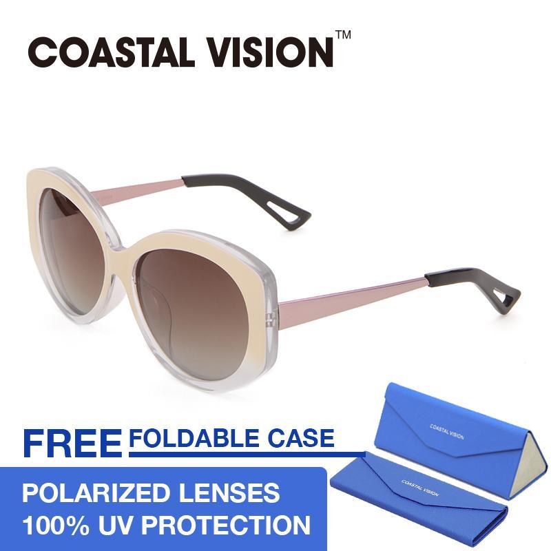 Spesifikasi Coastal Vision Kacamata Polarized Wanita Pink Oversize Lensa Anti Uva B Cvs5031 Baru