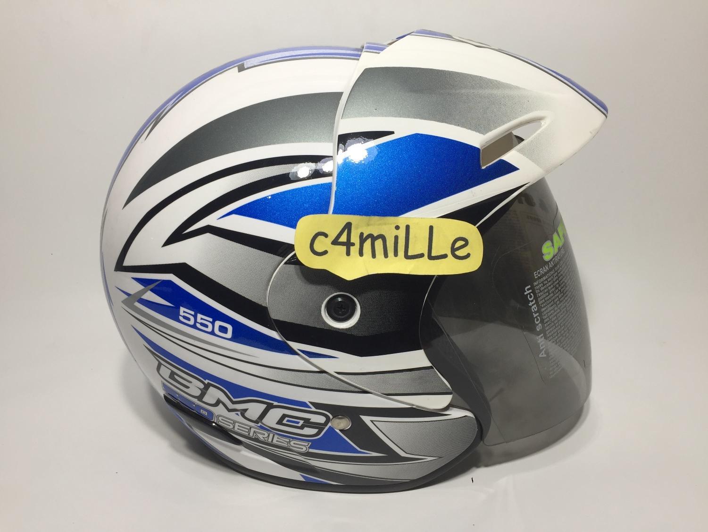 Detail Gambar HELM BMC 560R #28 WHITE BLUE HALF FACE 560 Terbaru