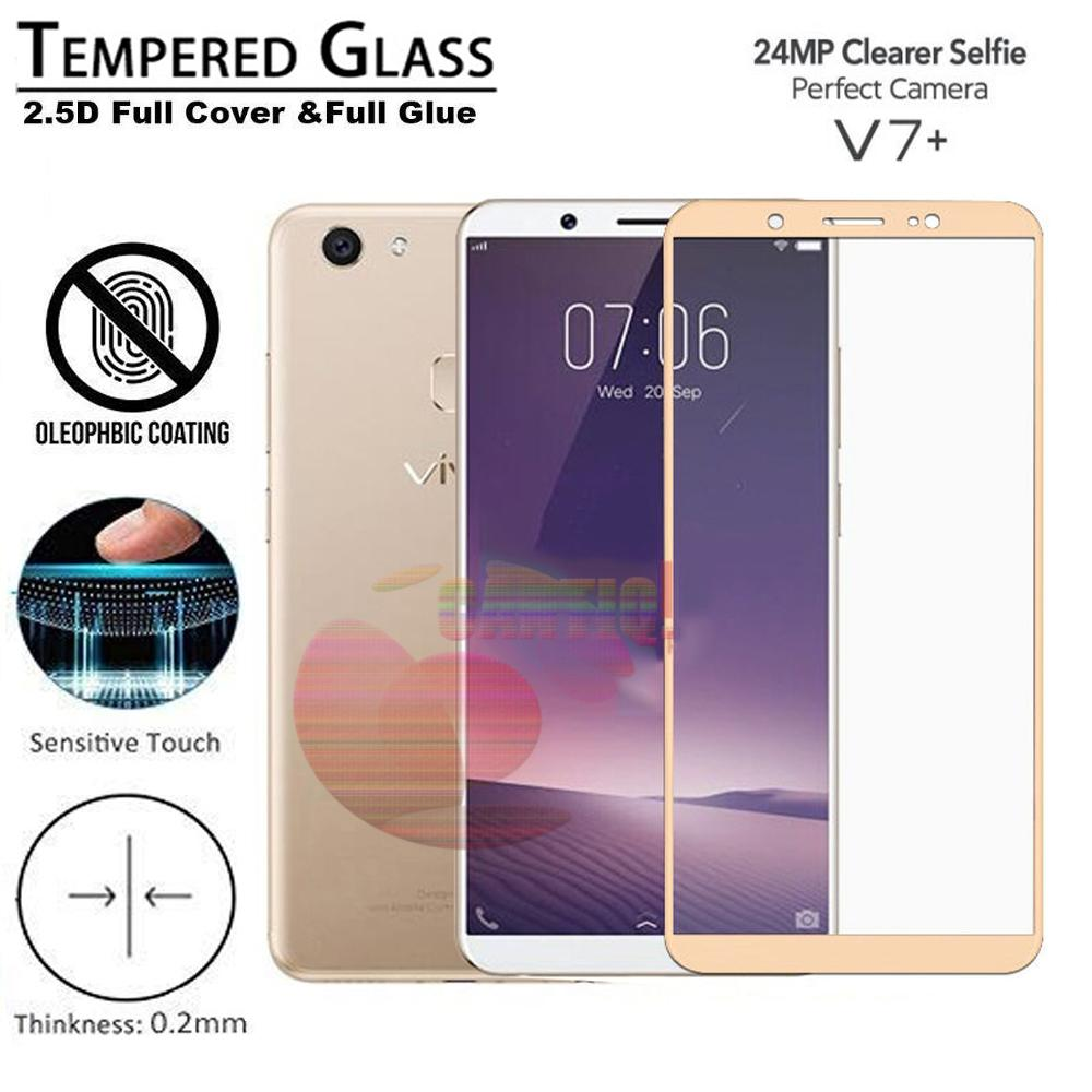 Tempered Glass Full Screen Gold Vivo V7 Plus 9H Screen Anti Gores Kaca / Screen Protection / Temper Vivo V7 Plus / Pelindung Layar Kaca Full Vivo V7 Plus / Depan Only / Temper Full Layar Vivo V7 Plus - Gold / Emas