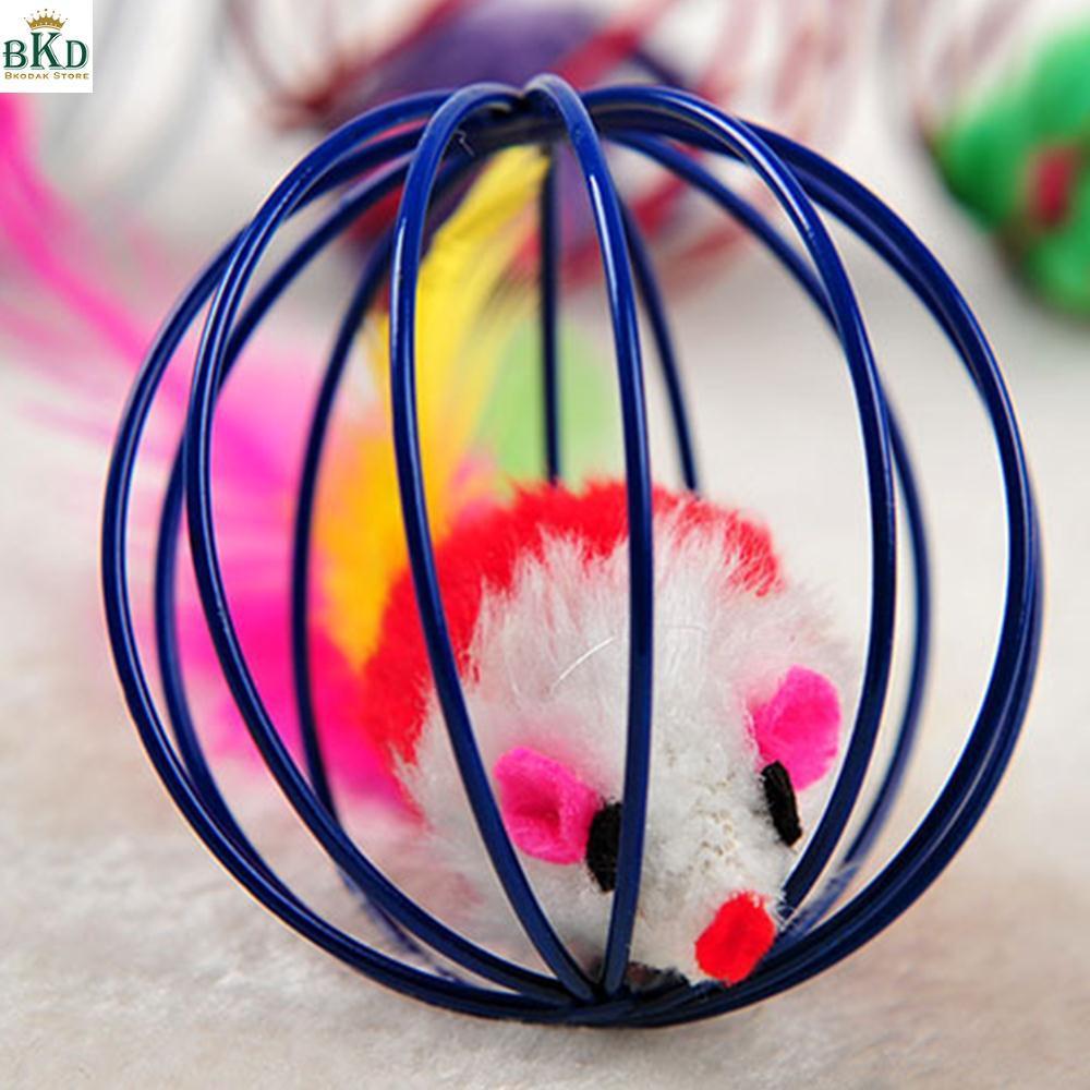 Bkodak Toko Bulat Warna Acak Diameter 6 Cm Mouse Di Kandang Mainan Kucing .