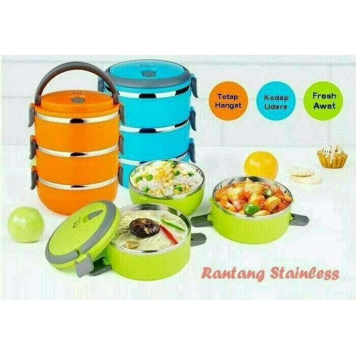Gambar Produk Rinci Rantang 3 susun polos lunch box tempat makan lauk sayur stainless- Biru Terkini