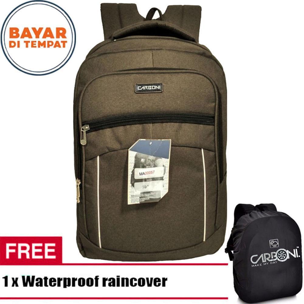 Beli Carboni Backpack Tas Ransel Laptop Pori Halus Ma00057 15 Coffee Original Raincover Carboni Asli