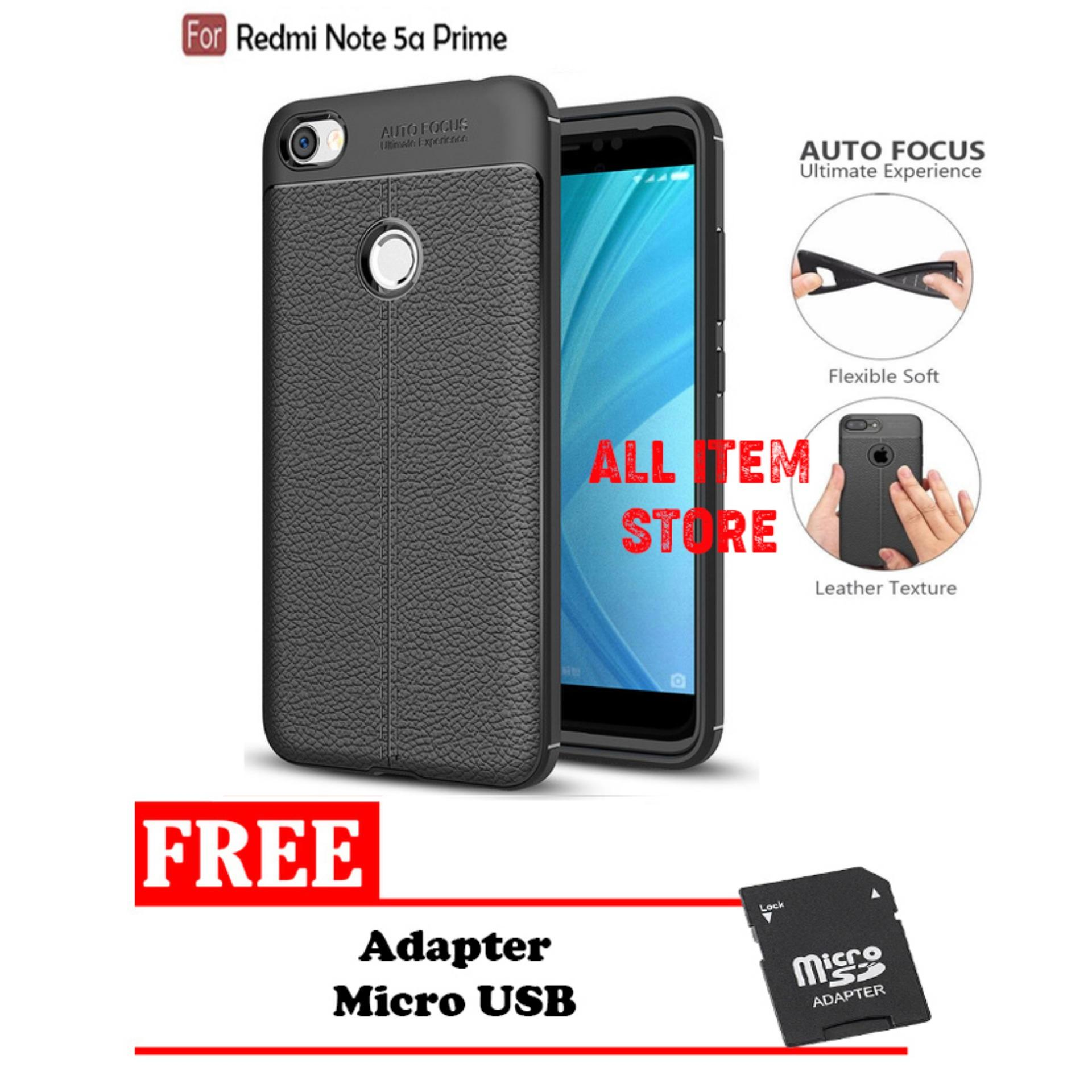 Case Auto Focus Xiaomi Redmi Note 5A Leather Black Matte Autofocus - Hitam + Free Adapter
