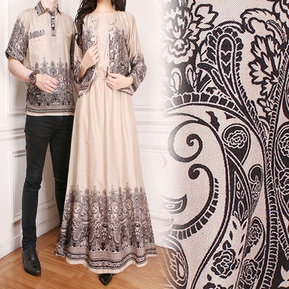 Baju Pasangan Couple Gamis Sarita Dan Kemeja Pria Warna Coklat Susu