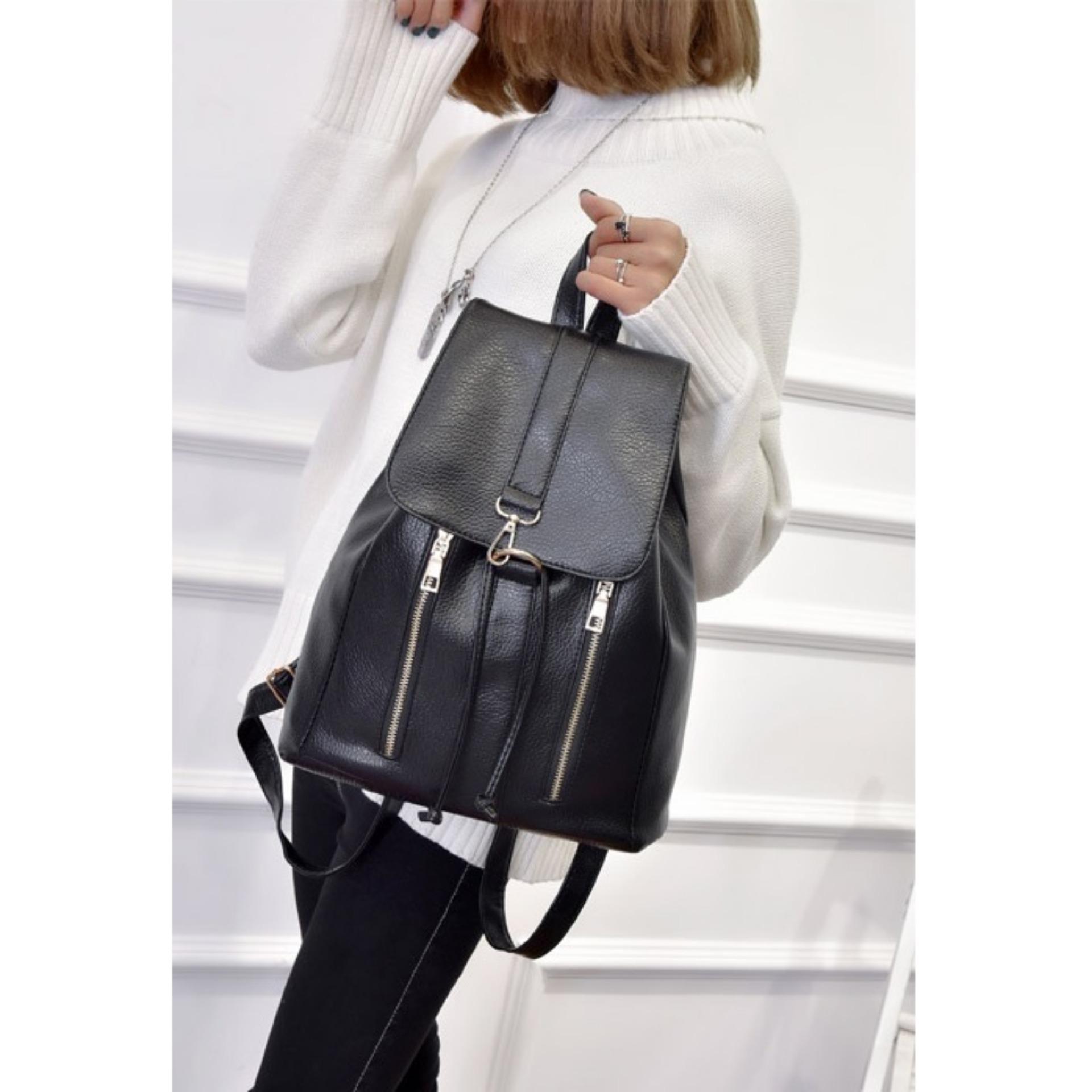 JCF Tas Ransel Kulit PU Import Korean Style Fashion Branded Wanita Remaja  Dan . d3921f8281