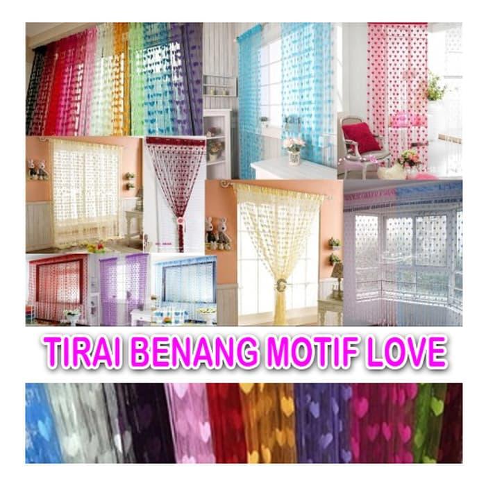 [ BENANG LOVE ] Tirai Benang Love Tirai Kamar Tirai Jendela Unik @ gorden jendela minimalis