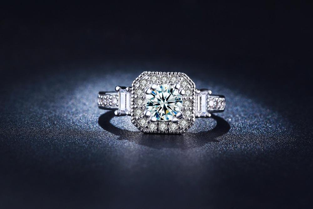 NEW Promo Perhiasan Cincin Emas Putih Berlian CZ Premium Perhiasan Wanita Imitasi BR115 Murah