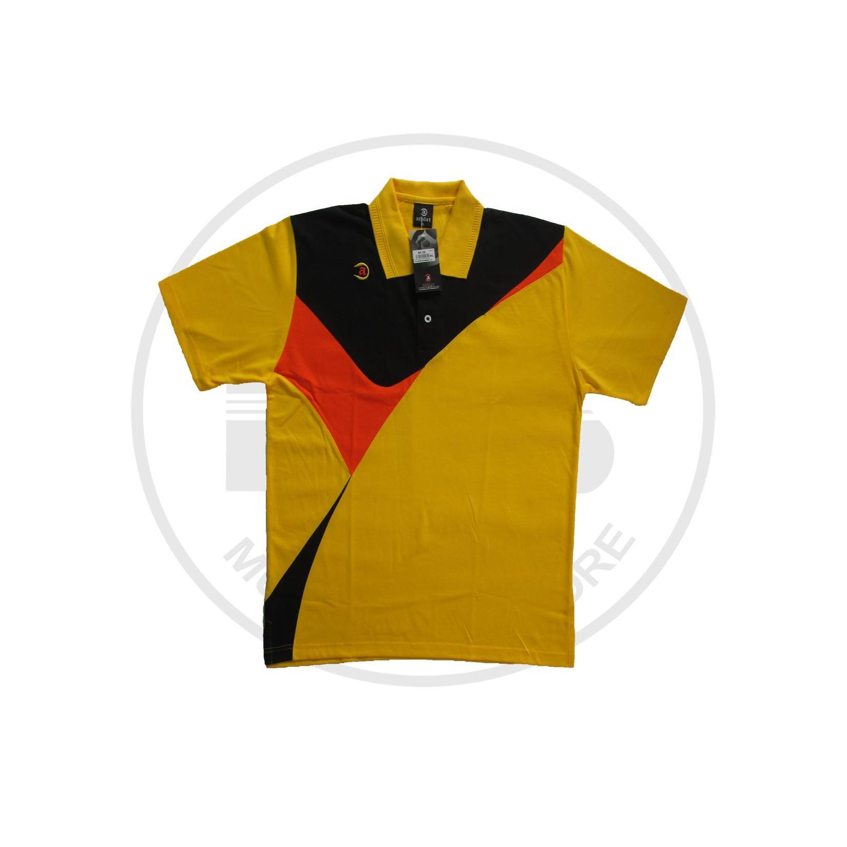baju training merk athlet warna kuning list hitam merah