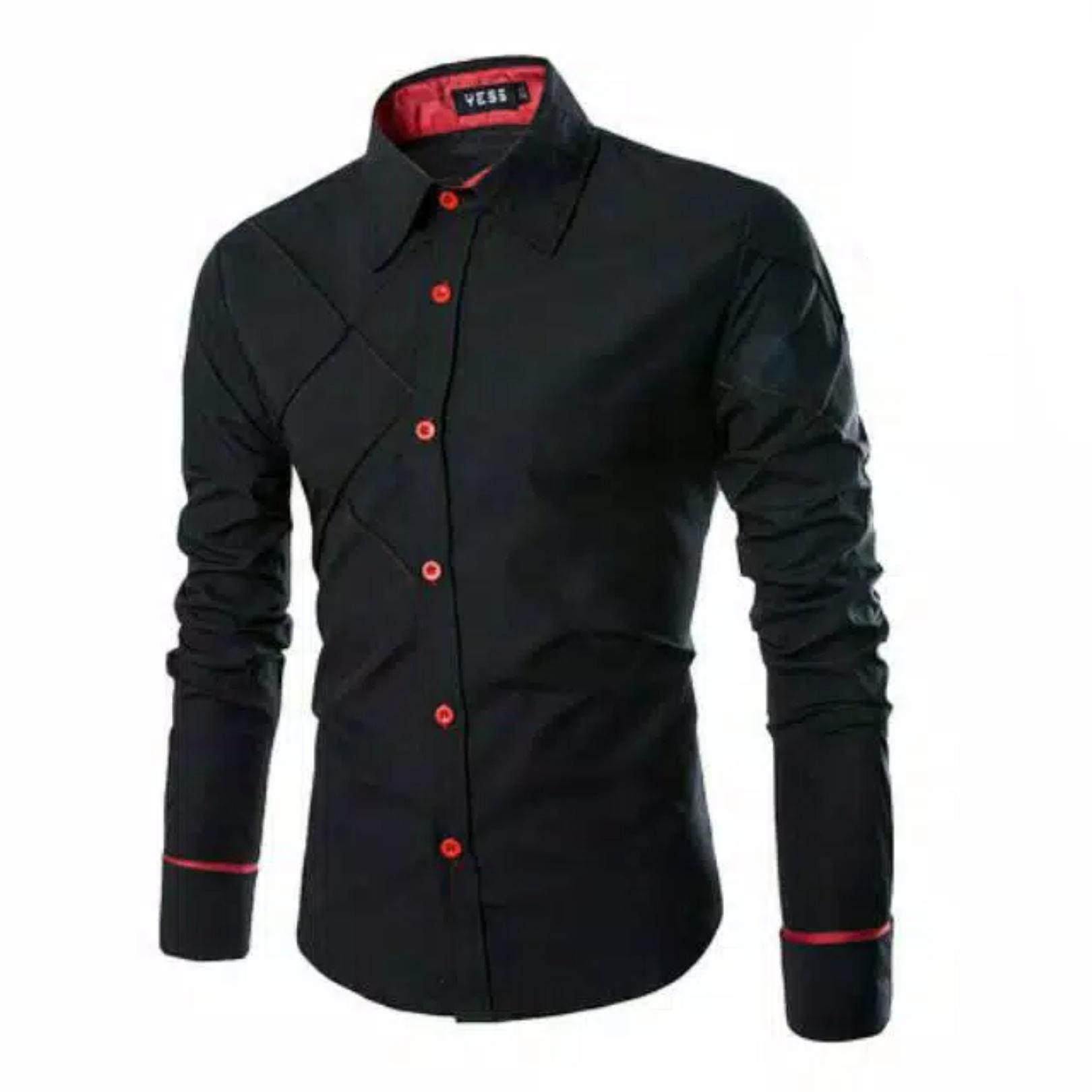 M Fashion - kemeja pria lengan panjang xman / kemeja kantoran / kemeja polosan / baju lebaran / baju koko