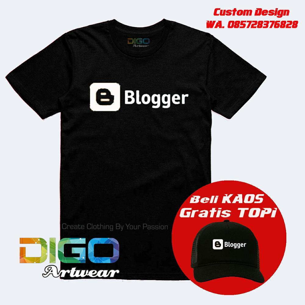Kaos Blogger - T Shirt Web Blog Bonus Custom Alamat Blog & Bonus Topi Exclusif