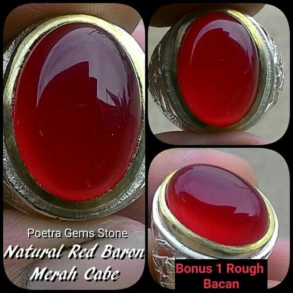 NEW Promo Perhiasan CINCIN BATU AKIK NATURAL RED BARON MERAH CABE HARGA FANTASTIS  Murah