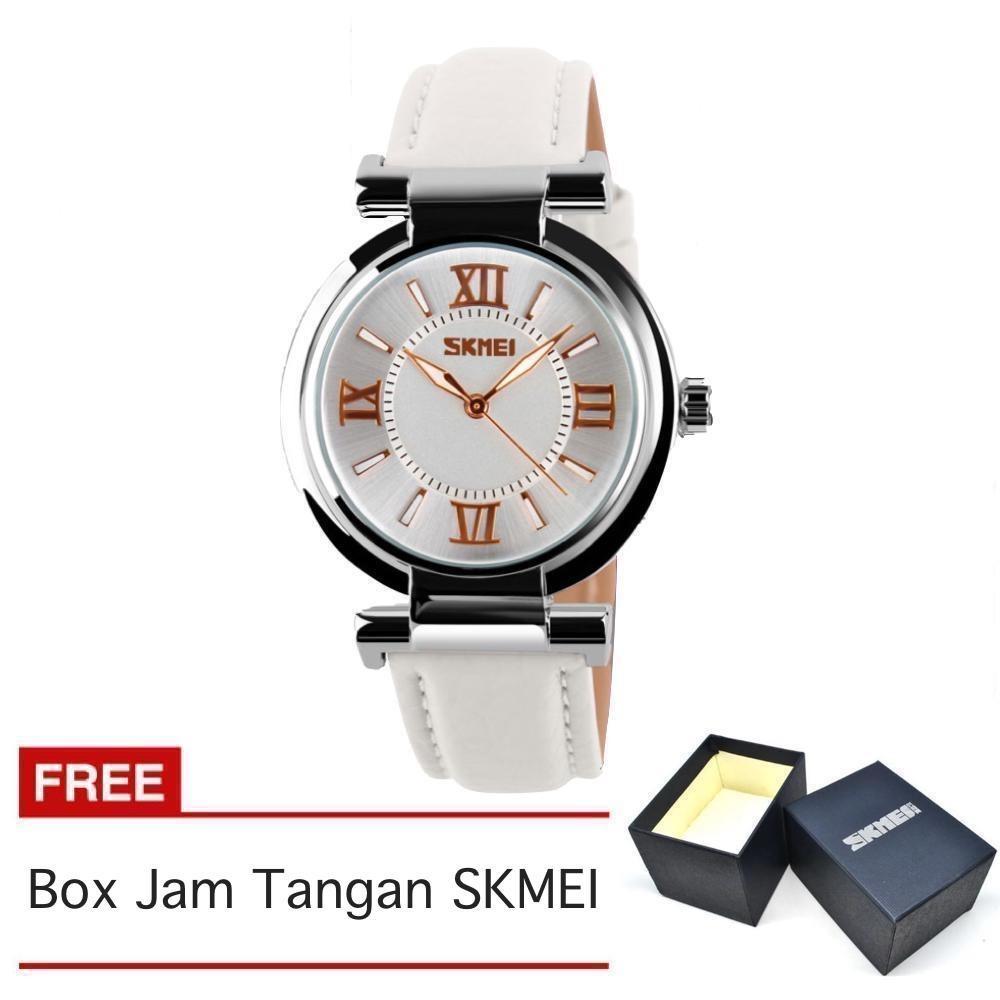 SKMEI - Jam Tangan Wanita - Strap Kulit - Putih - 9075_White_FREE Box