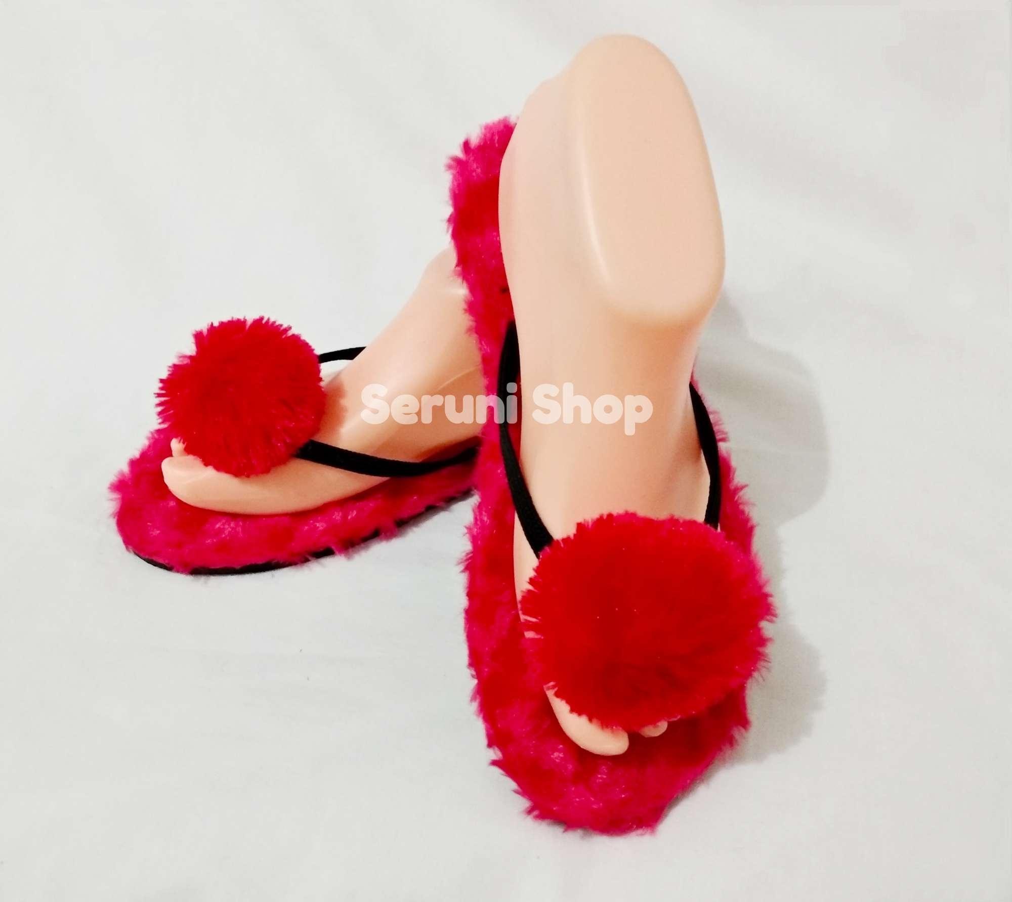 ... Seruni Flat Sandals Jepit Pom Pom Bulu Merah - 4