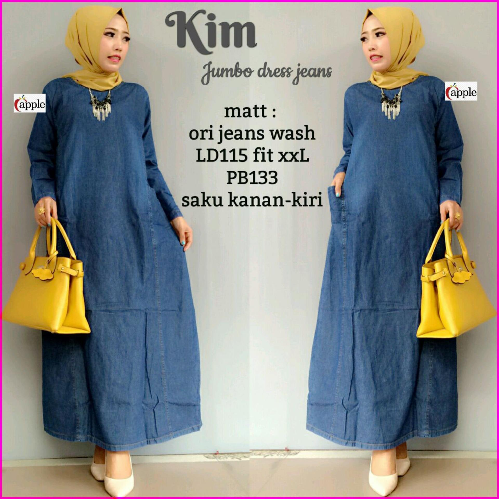 Maxy Dress Jeans Kim Gamis Murah By Almahira Hijab