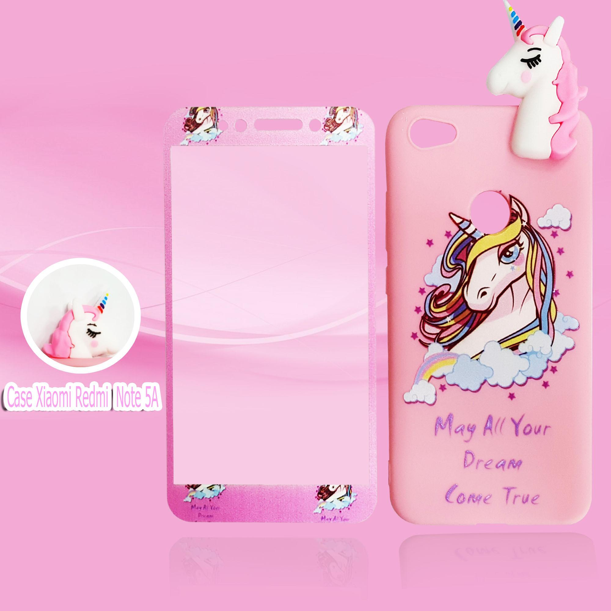 Marintri Case Xiaomi Redmi Note 5A With Tempered Glass Unicorn Manjat