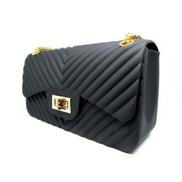 Tas Fashion jelly matte mini bag import free boneka dan syal jely rantai goll selempang motif v high quality import - 3