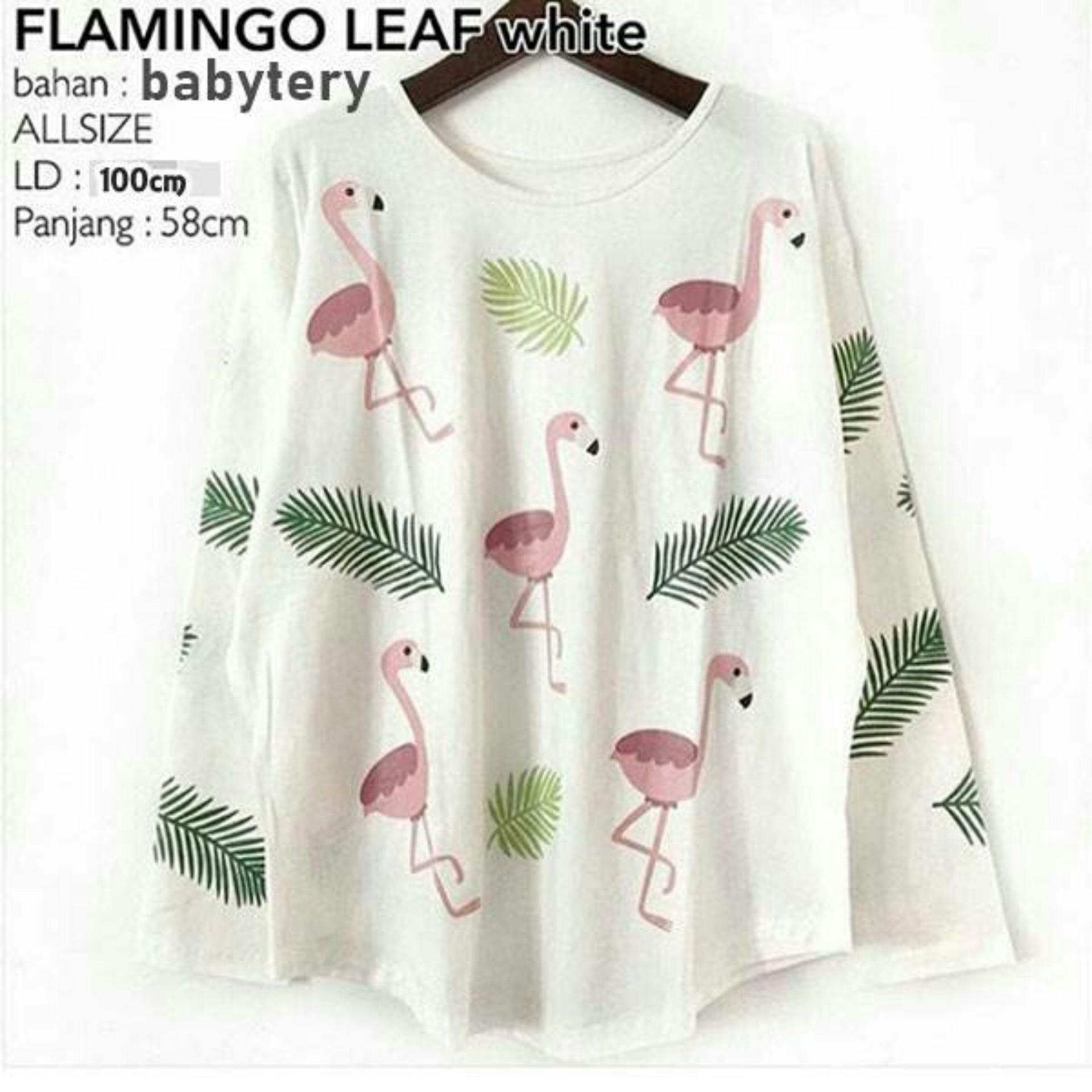 AmorShop Blouse Jumbo Flamingo Leaf Atasan Wanita Blouse Lengan Panjang