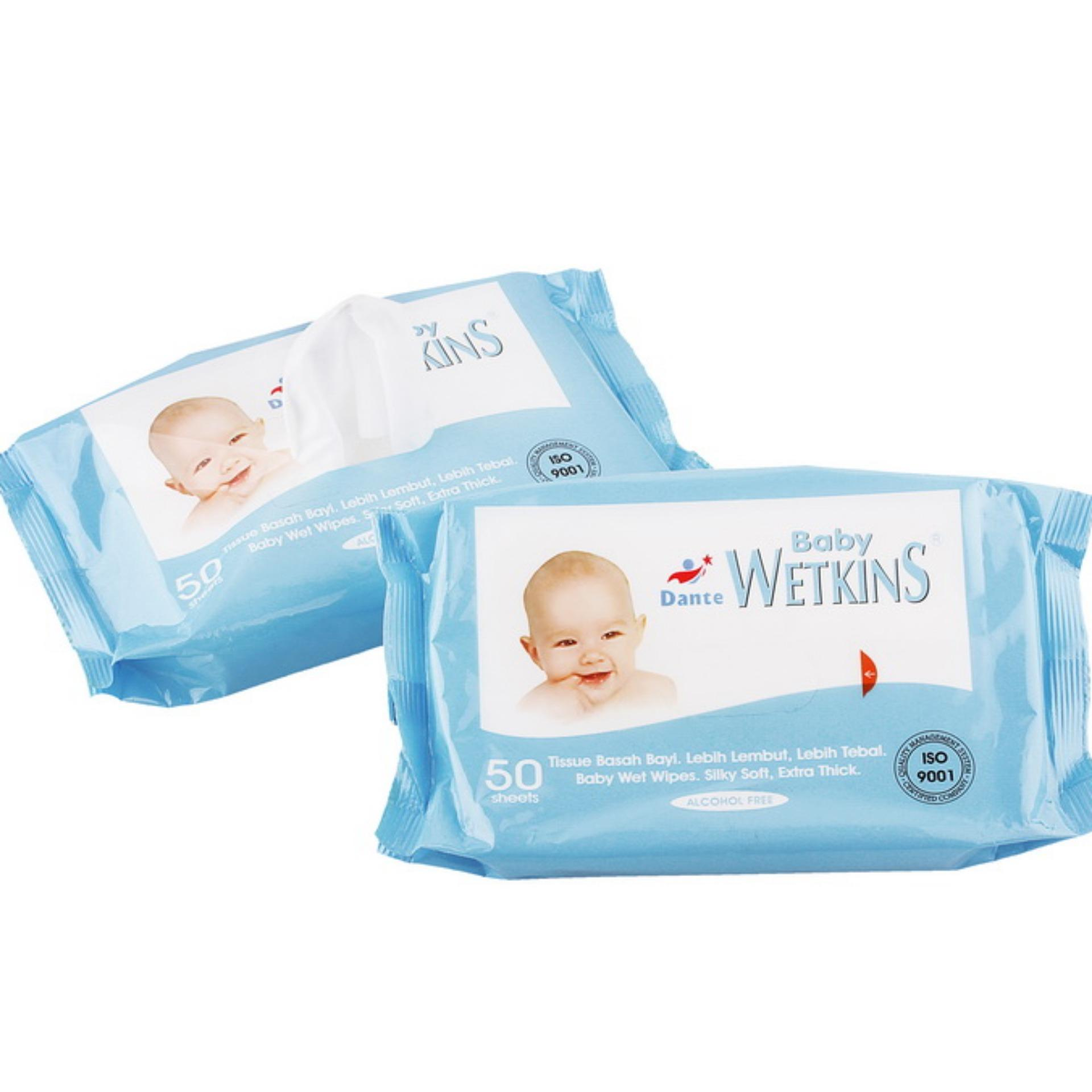 Tissue Basah Wetkins Baby Wipes Blue 50'S 1 Pack