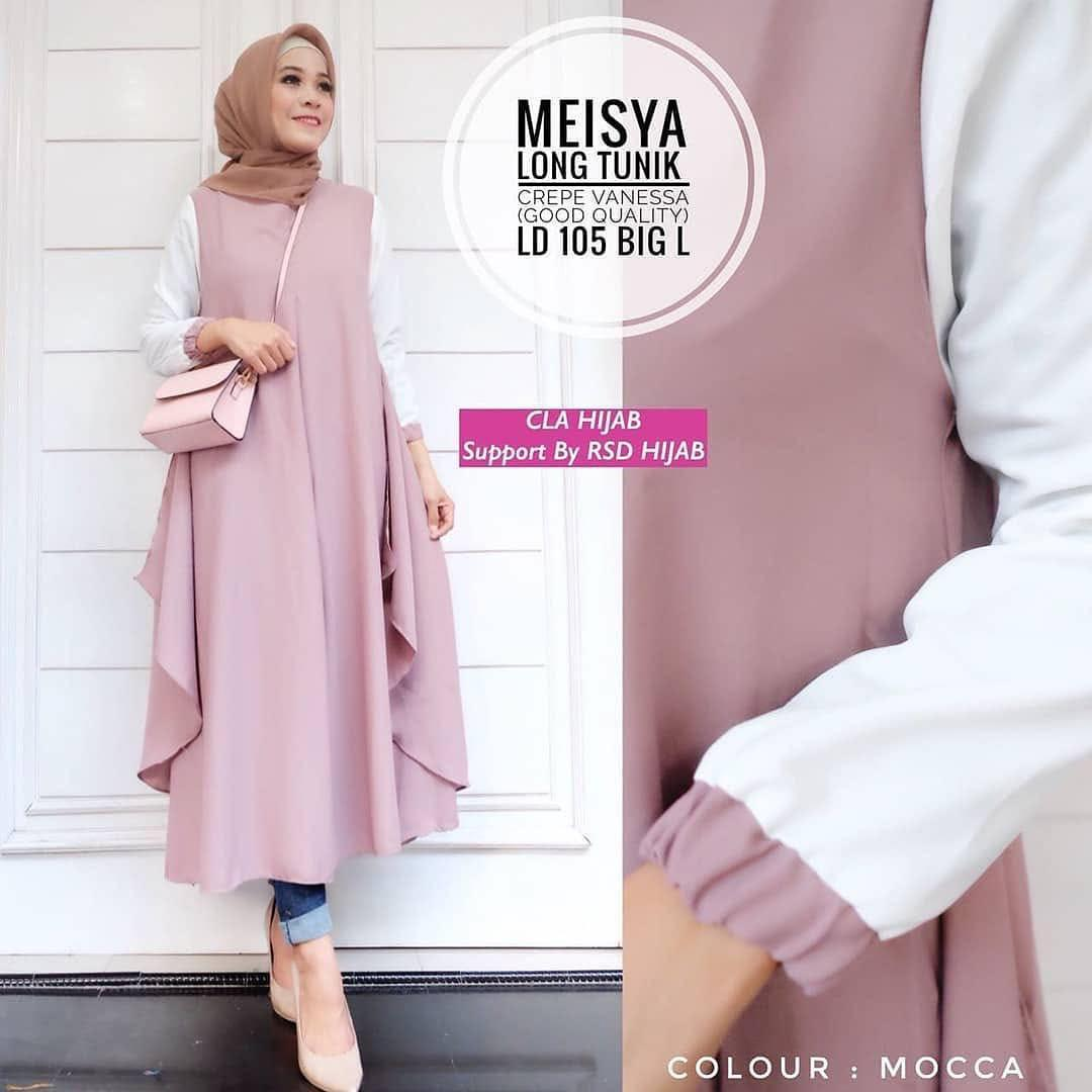 Trendshopee Atasan Muslimah Wanita Tunik Ribbon Black5 Daftar Baju Muslim Meisya Long Murah