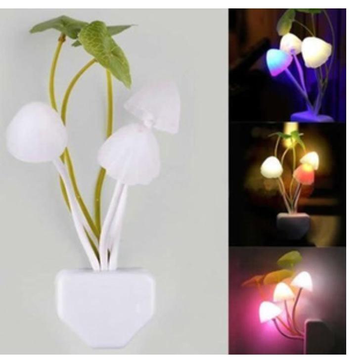 Lampu Tidur Sensor LED Unik Bentuk Jamur Untuk Dekorasi Mempercantik Kamar ( Menyala Otomatis Dalam Gelap )