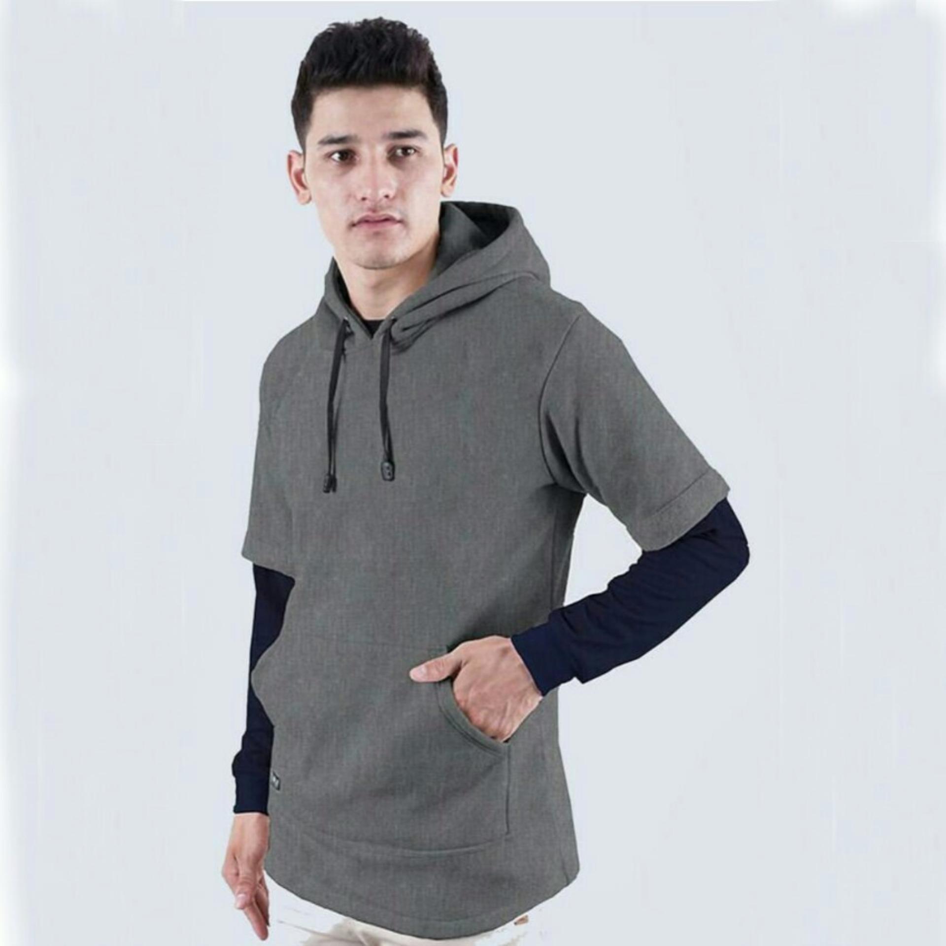 Beli Jaket Sweater Hoodie Pria Atx Abu Tua Jawa Barat