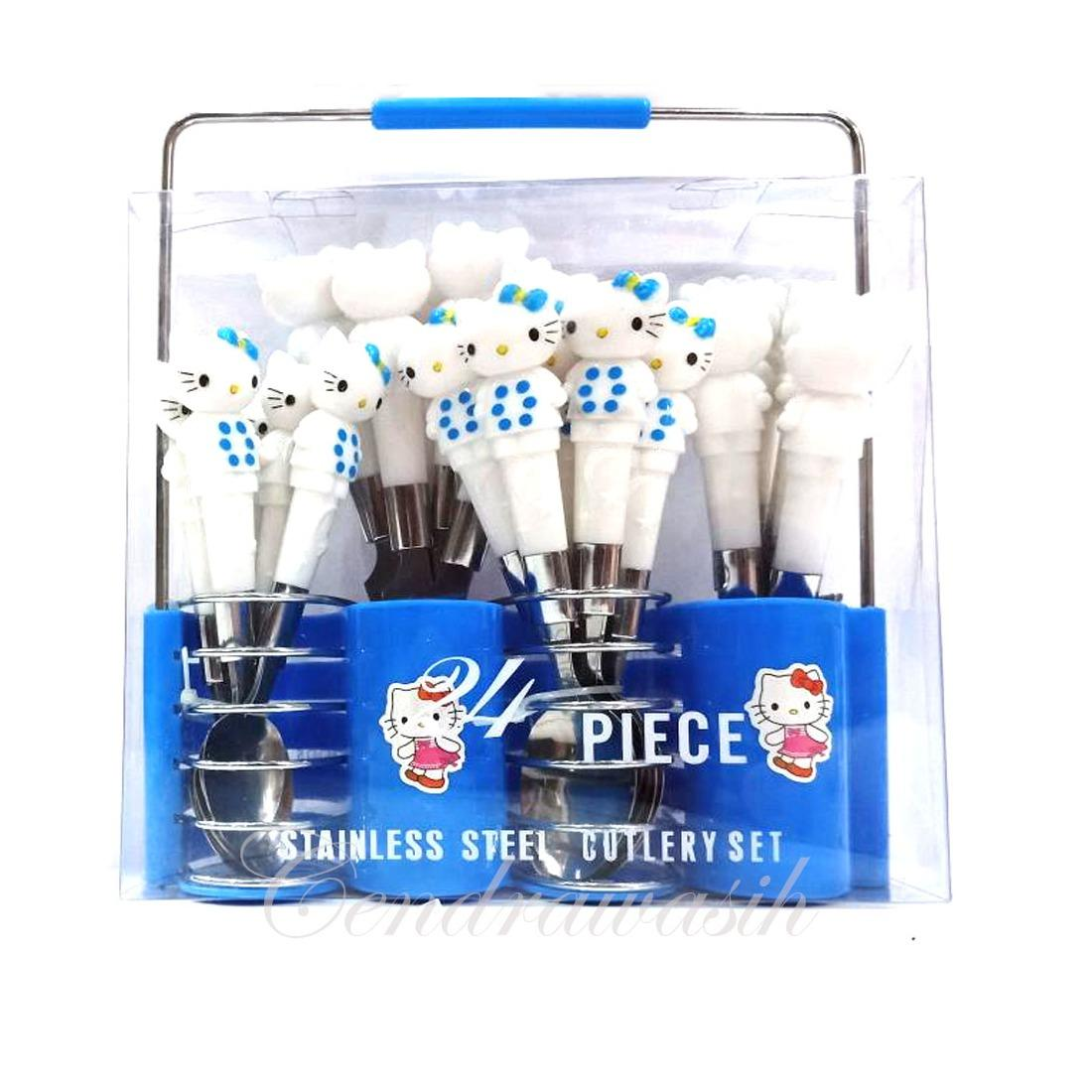 Beli Sendok Set Hello Kitty Stainless Steel 24 Pcs Biru Murah